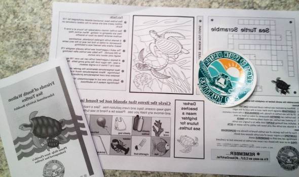 Stickers, activity books and coloring book style menus designed, printed and distributed by Friends of South Walton Sea Turtles volunteers in 2015. Materials funded by donations and distributed to Sea Turtle Friendly businesses around 30A and South Walton beaches.